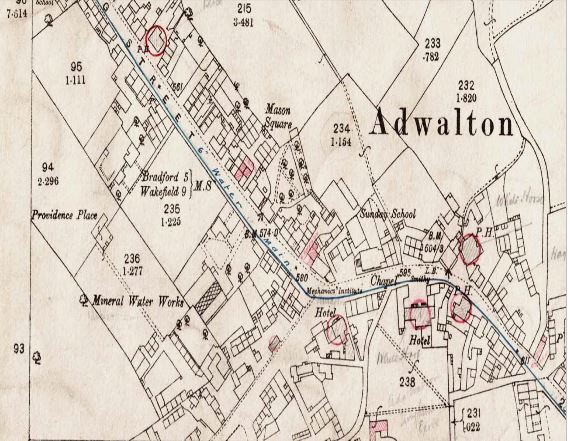 Map of Adwalton in 1908, showing at least five different pubs in the Three Road ends, King Street Area. Only the Black Bull survives, with the White Hart Hotel, the White Horse, The Waggon and Horses and the Unicorn now gone.