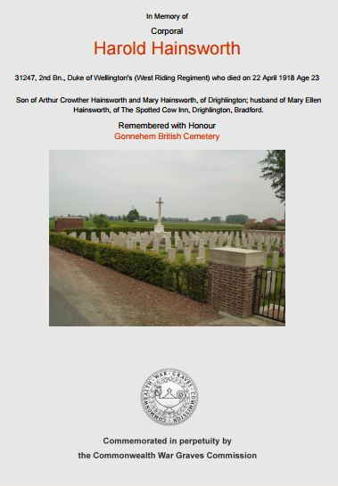 The Commonwealth War Grave Commission Certififcate for Harold Hainsworth.