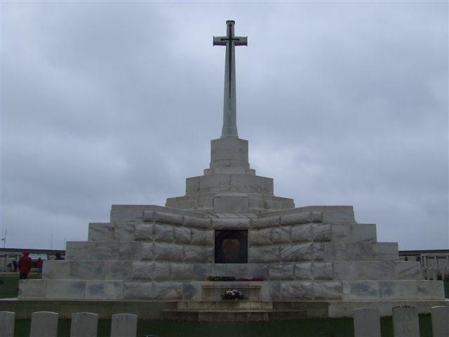 The cross at the Tyne Cot Memorial, Belgium.