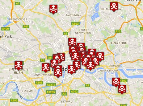 Plague pits all over London