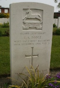 Eric's Commonwealth War Graves Commission headstone in Poperinghe New military Cemetery via Ancestry.com
