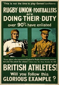 Rugby recruitment poster.  Source acknowledged