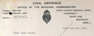 Civil Defence letter to Miss Milnem, Whitehall
