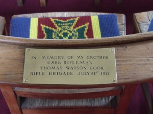 Thomas Watson Cook memorial chair in St George's Chapel , Ypres© Carol Sklinar 2014