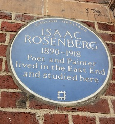 English Heritage Blue Plaque to Isaac Rosenberg © C Sklinar 2015