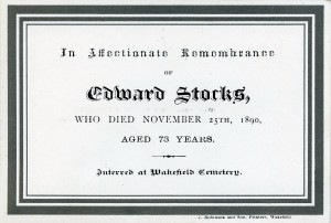 Edward Stocks funeral card via Michael Coffey