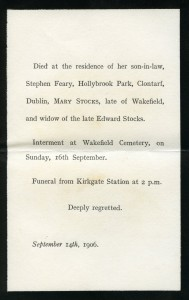 Mary Stocks funeral card via Michael Coffey