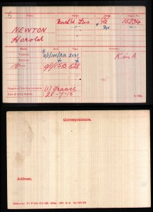 Medal card for Harold Newton KOYLI