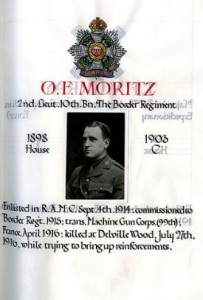 Oscar Frank Moritz entry in Sherborne School Roll of Honour