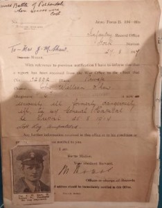 Army form to Mrs J M Shaw WYAS