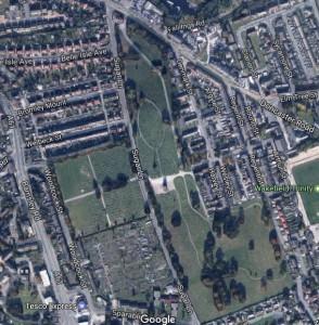 Aerial view of Sugar Lane cemetery