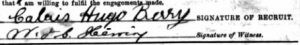 Signature of Calais Berry on his Attestation Papers via Ancestry