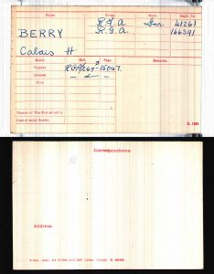 Gnr Berry's Medal Card via Ancestry
